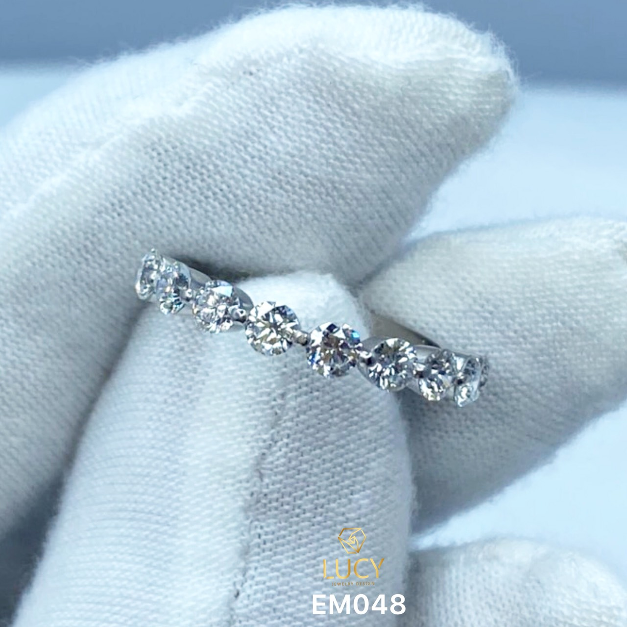 EM048 Nhẫn kết ngang 9 viên 3mm, nhẫn nữ vàng, nhẫn nữ thiết kế, nhẫn cầu hôn, nhẫn đính hôn - Lucy Jewelry