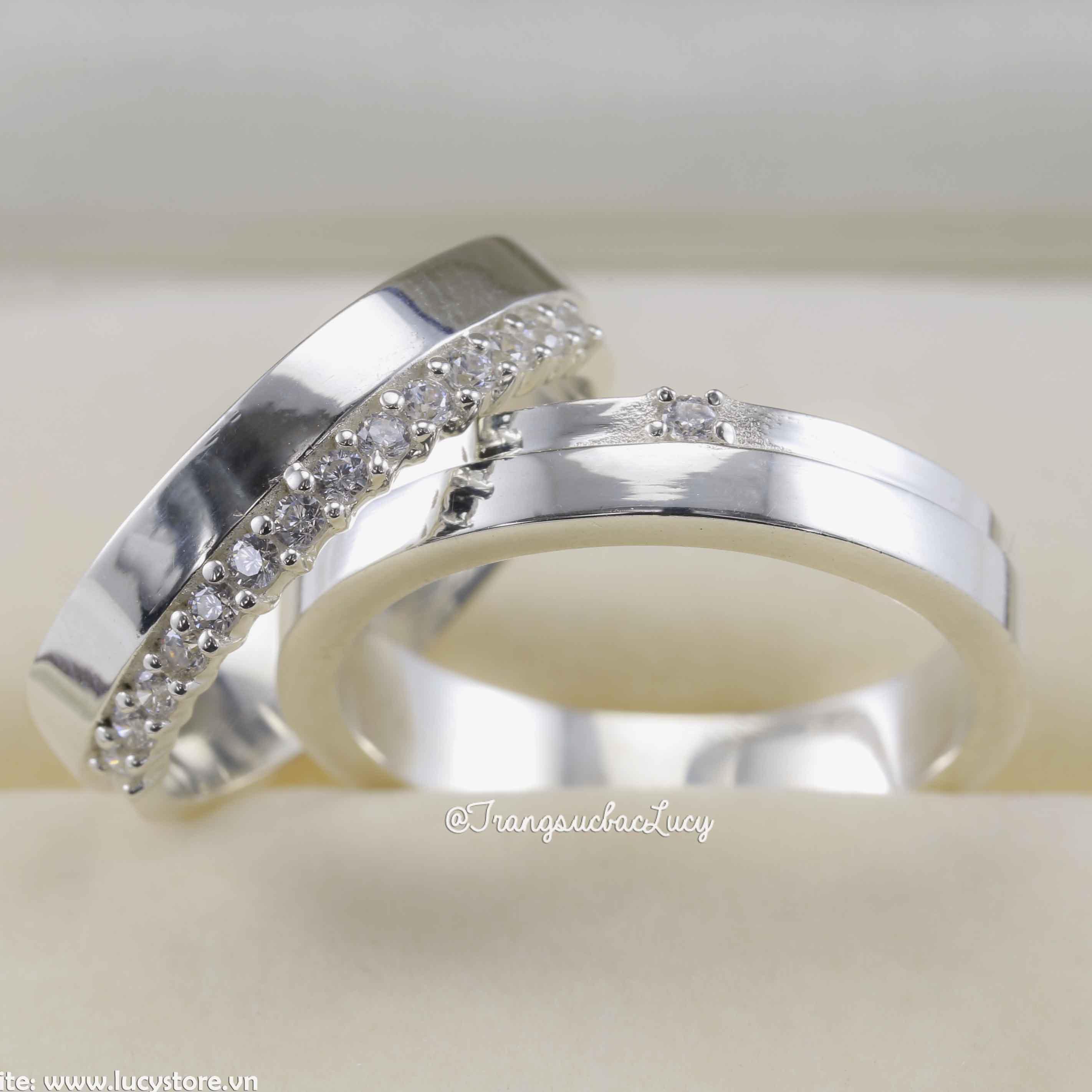 Nhẫn đôi nhẫn cặp bạc Lucy - ND042