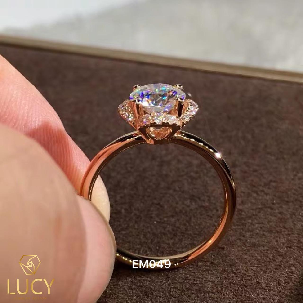 EM049 Nhẫn nữ vàng, nhẫn ổ 6.0mm 6.3mm nhẫn nữ thiết kế, nhẫn cầu hôn, nhẫn đính hôn - Lucy Jewelry