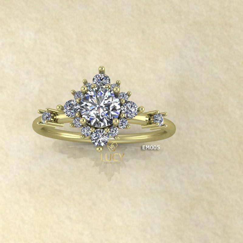 EM005 Nhẫn nữ, nhẫn vàng, nhẫn thiết kế, nhẫn cầu hôn, nhẫn ổ 4.5mm, nhẫn đính hôn - Lucy Jewelry