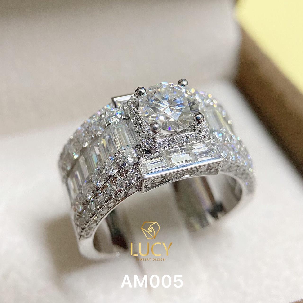 AM005 Nhẫn vàng nam đá chủ 7.2mm - Lucy Jewelry