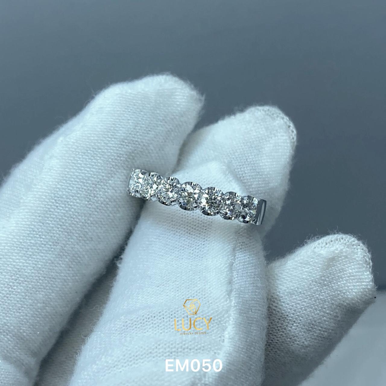 EM050 Nhẫn kết ngang 7 viên 3mm, nhẫn nữ vàng, nhẫn nữ thiết kế, nhẫn cầu hôn, nhẫn đính hôn - Lucy Jewelry