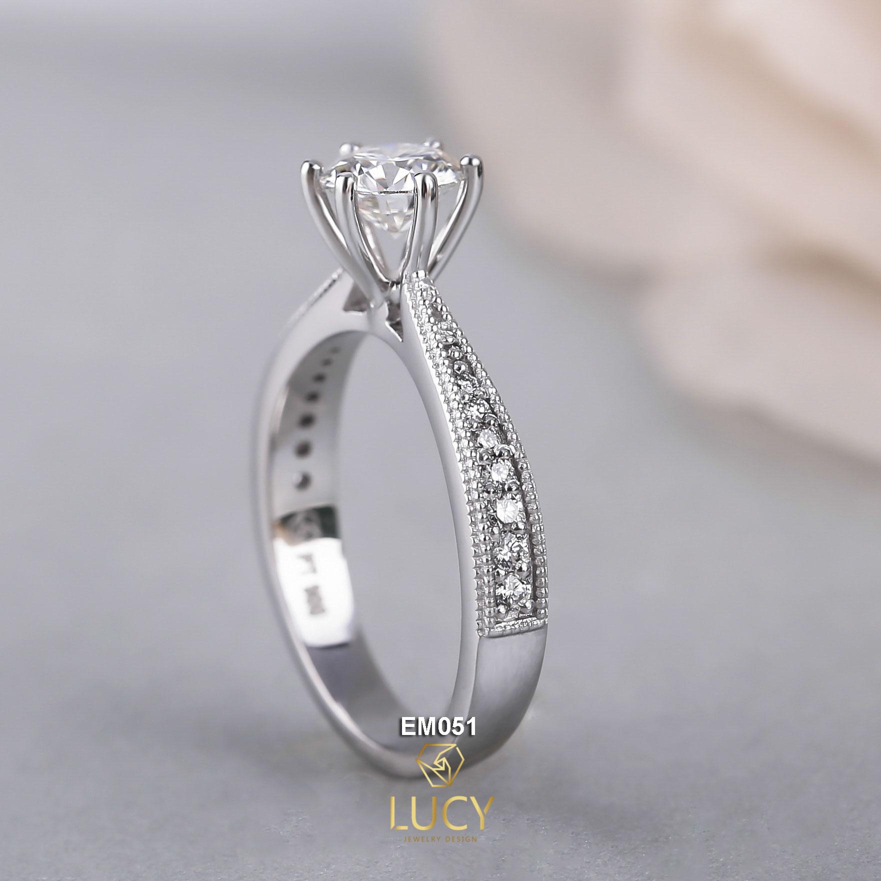 EM051 Nhẫn nữ vàng, nhẫn ổ 5.4mm nhẫn nữ thiết kế, nhẫn cầu hôn, nhẫn đính hôn - Lucy Jewelry