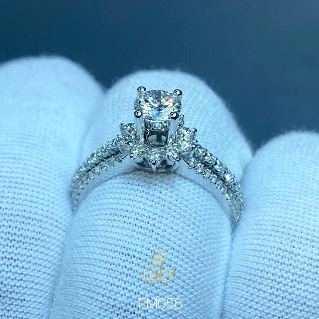EM056 Nhẫn nữ vàng, nhẫn ổ kim 5.4mm 5.5mm, nhẫn nữ thiết kế, nhẫn cầu hôn, nhẫn đính hôn - Lucy Jewelry