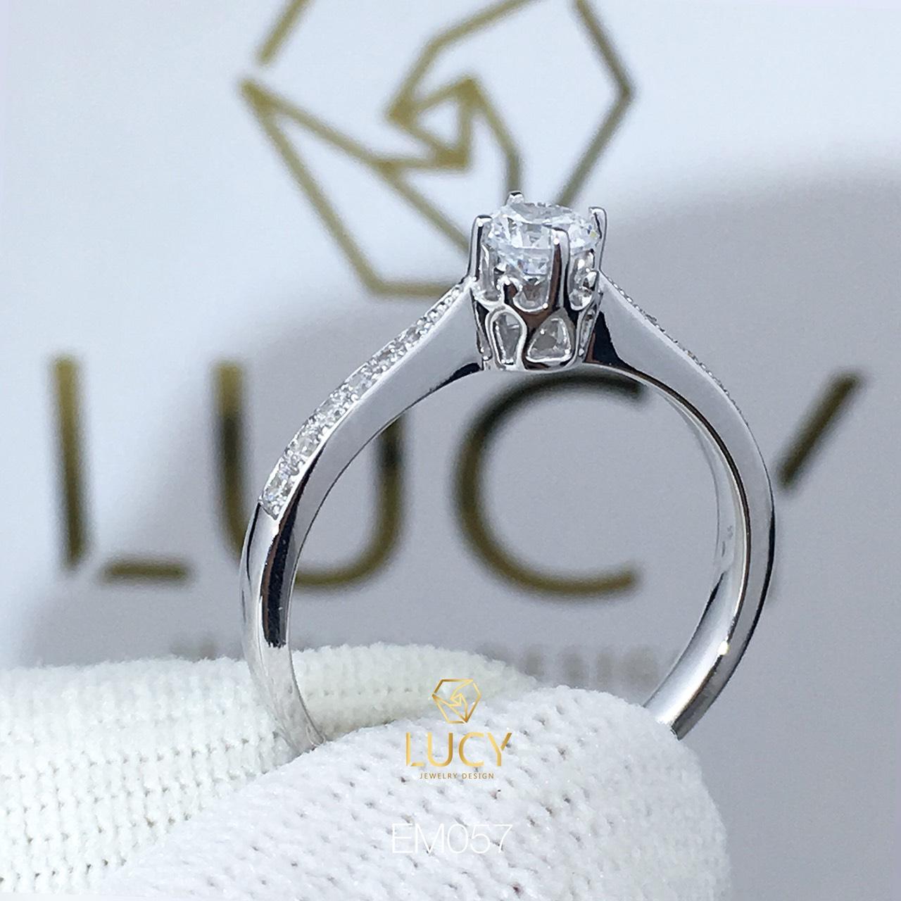 EM057 Nhẫn nữ vàng, nhẫn ổ kim cương 3.6mm 3.5mm, nhẫn nữ thiết kế, nhẫn cầu hôn, nhẫn đính hôn - Lucy Jewelry