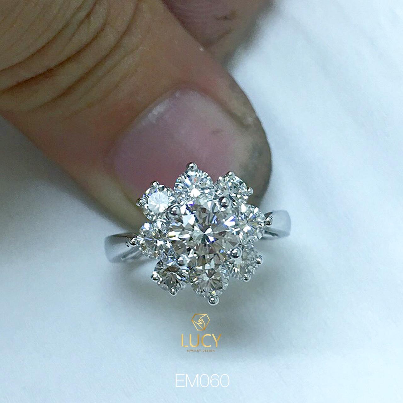 EM060 Nhẫn nữ vàng, nhẫn ổ kim cương 6.3mm 6.5mm, nhẫn nữ thiết kế, nhẫn cầu hôn, nhẫn đính hôn - Lucy Jewelry