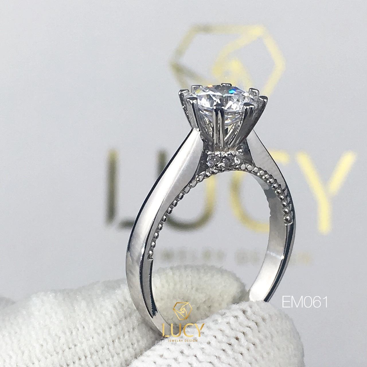 EM061 Nhẫn nữ vàng, nhẫn ổ kim cương 6.3mm 6.5mm, nhẫn nữ thiết kế, nhẫn cầu hôn, nhẫn đính hôn - Lucy Jewelry