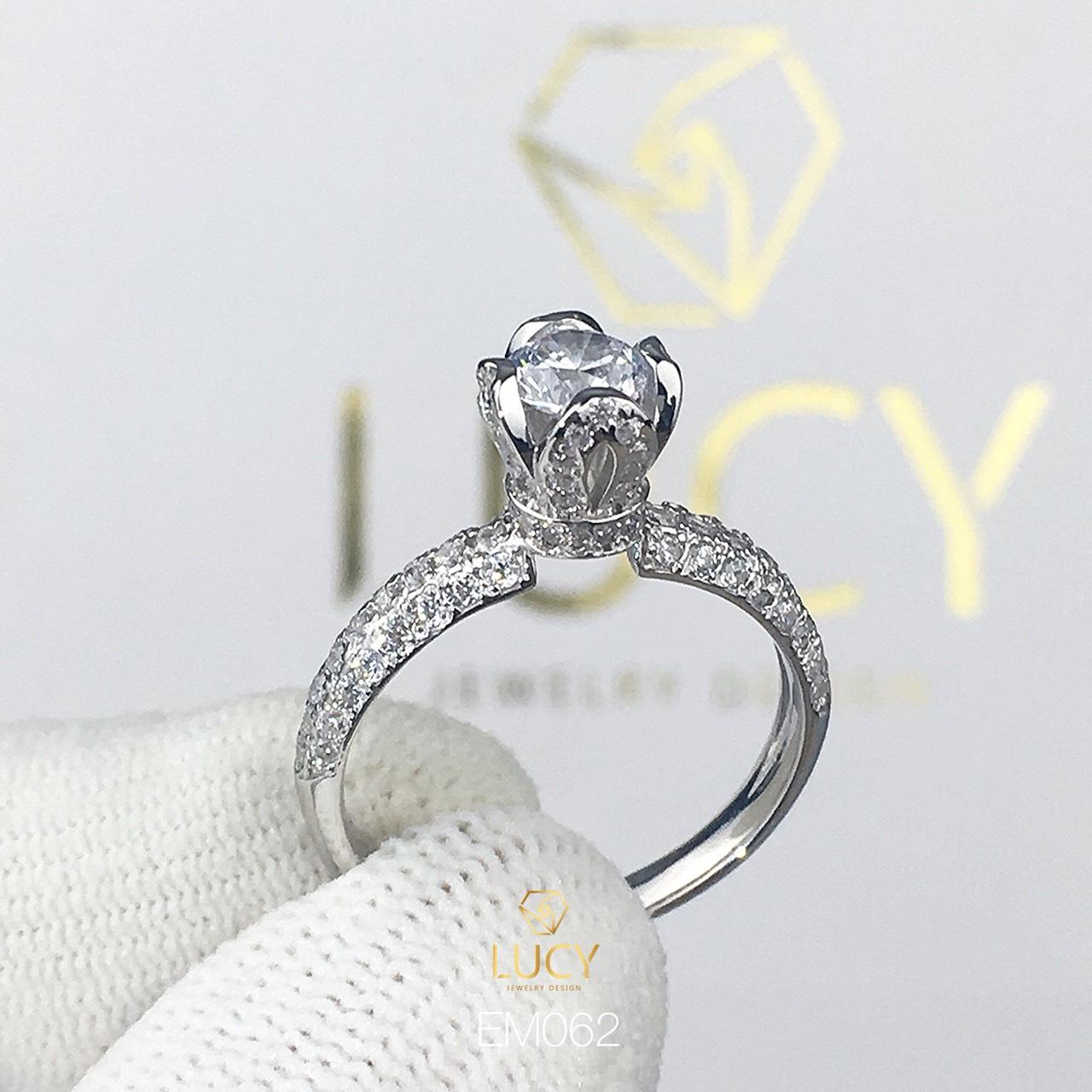 EM062 Nhẫn nữ vàng, nhẫn ổ kim cương 5.4mm 5.5mm, nhẫn nữ thiết kế, nhẫn cầu hôn, nhẫn đính hôn - Lucy Jewelry