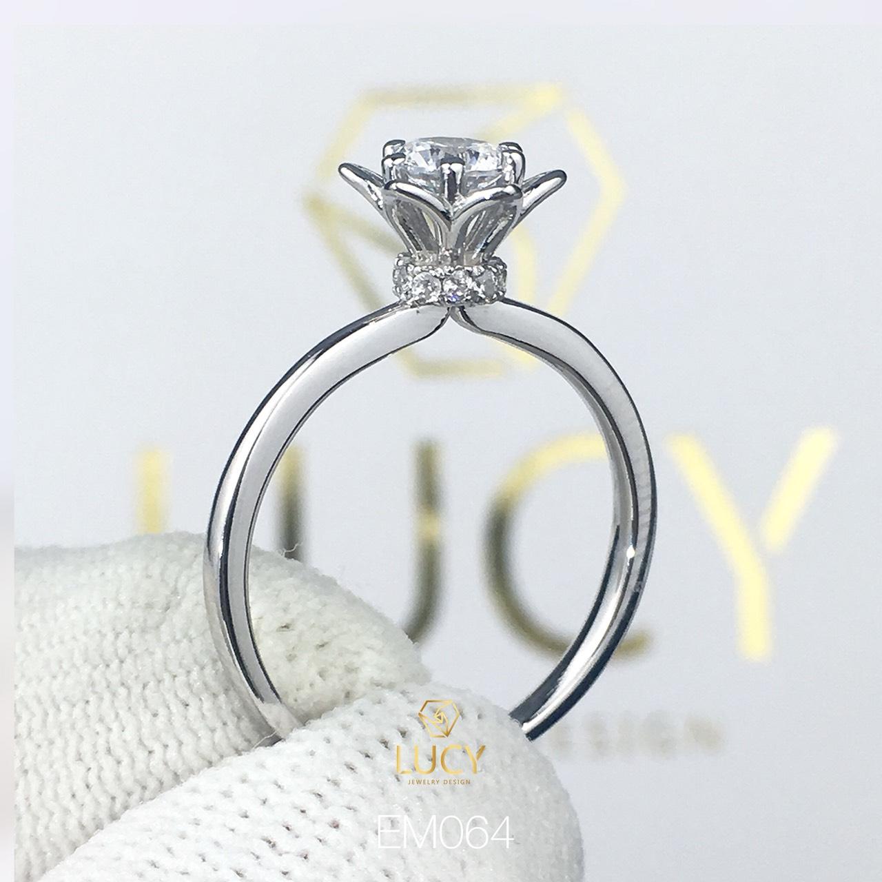 EM064 Nhẫn nữ vàng, nhẫn ổ kim cương 4.5mm, nhẫn nữ thiết kế, nhẫn cầu hôn, nhẫn đính hôn - Lucy Jewelry