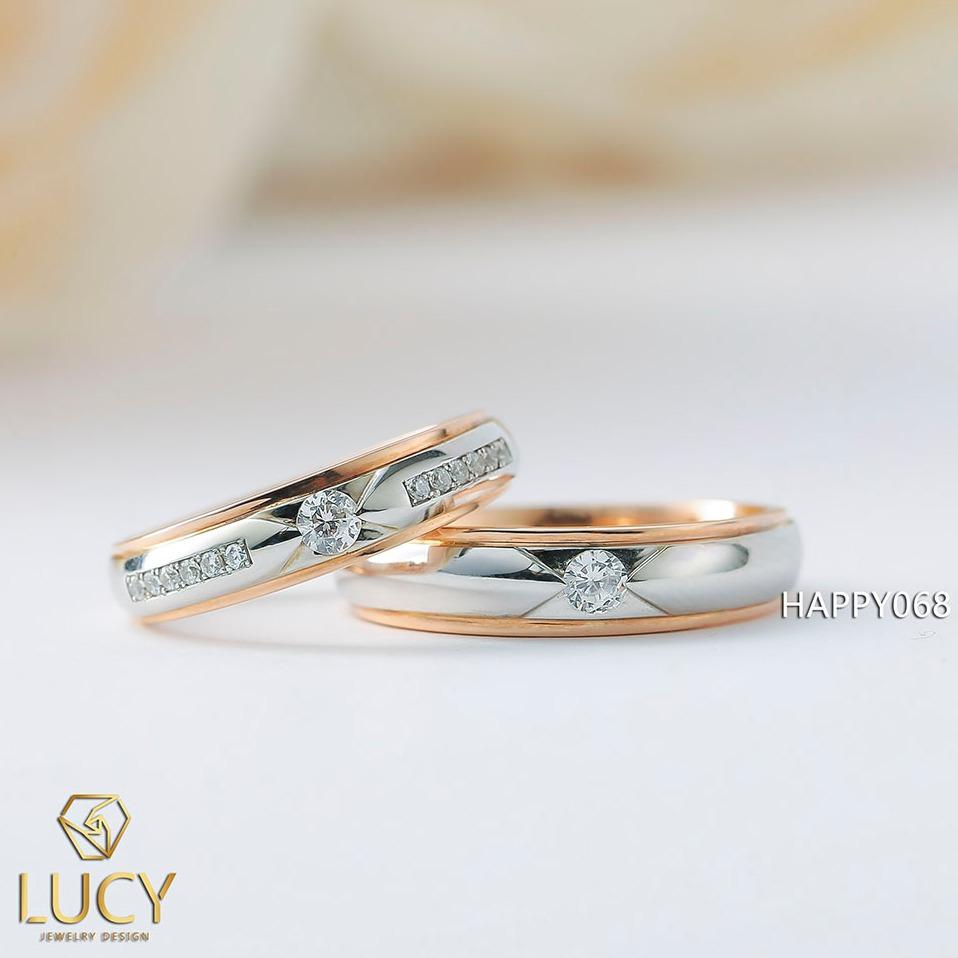 HAPPY068 Nhẫn cưới thiết kế vàng ghép 2 màu - Lucy Jewelry - Nhẫn cưới đẹp