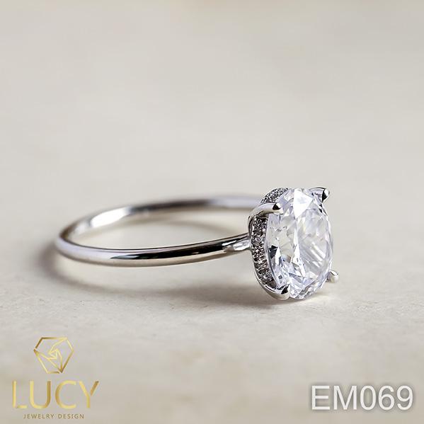 EM069 Nhẫn nữ vàng, nhẫn ổ kim cương oval 2carat 7*9mm, nhẫn nữ thiết kế, nhẫn cầu hôn, nhẫn đính hôn - Lucy Jewelry