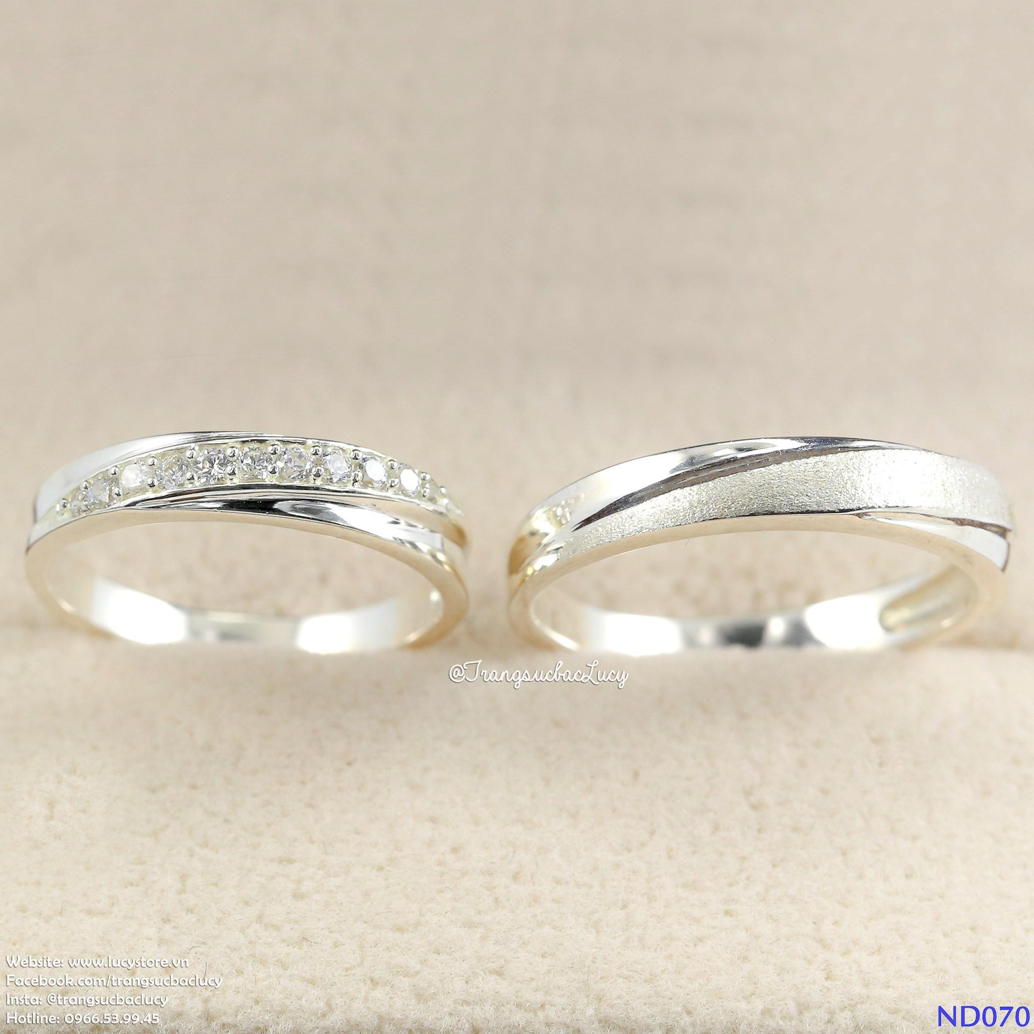 ND070 Nhẫn đôi bạc - Nhẫn cặp bạc - Nhẫn couple bạc đẹp Lucy Jewelry
