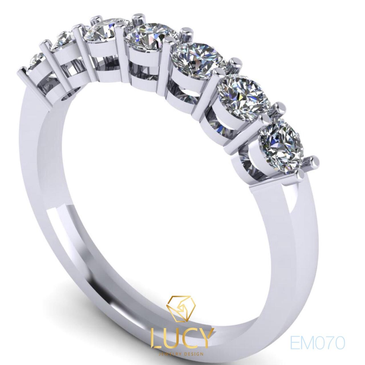 EM070 Nhẫn nữ vàng, nhẫn kết ngang 7 viên 3mm, nhẫn nữ thiết kế - Lucy Jewelry