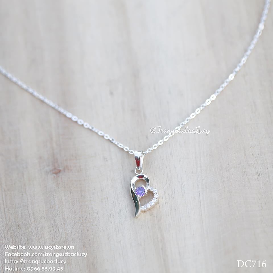 Dây chuyền trái tim đá tím bạc Lucy - DC716 - ORDER