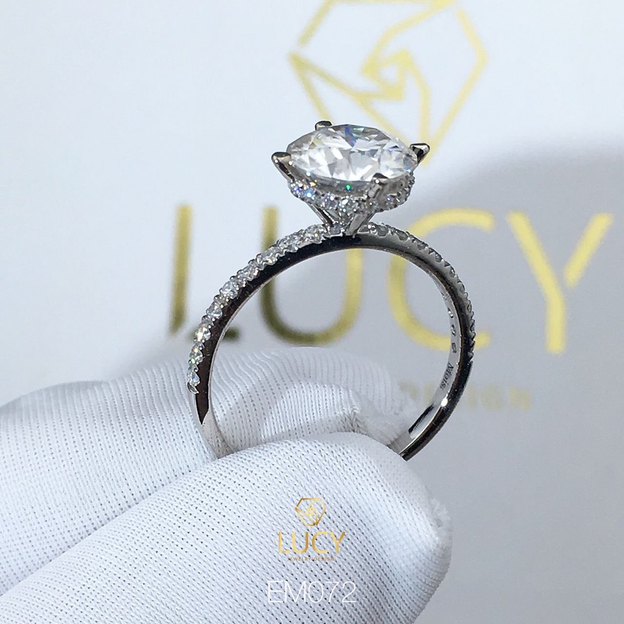 EM072 Nhẫn nữ vàng, nhẫn ổ kim cương 8mm, 8.1mm, nhẫn nữ thiết kế, nhẫn cầu hôn, nhẫn đính hôn - Lucy Jewelry