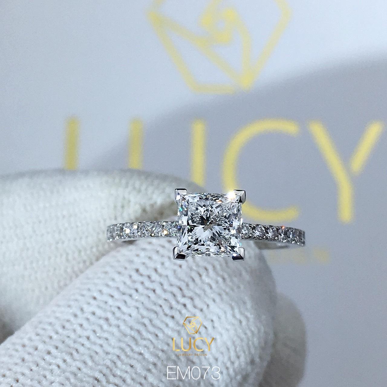 EM073 Nhẫn nữ vàng, nhẫn ổ kim cương vuông Princess 5mm 5.5mm, nhẫn nữ thiết kế, nhẫn cầu hôn, nhẫn đính hôn - Lucy Jewelry