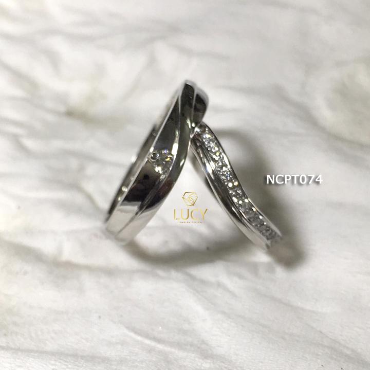 NCPT074 Nhẫn cưới bạch kim cao cấp Platinum 90% PT900 - Lucy Jewelry