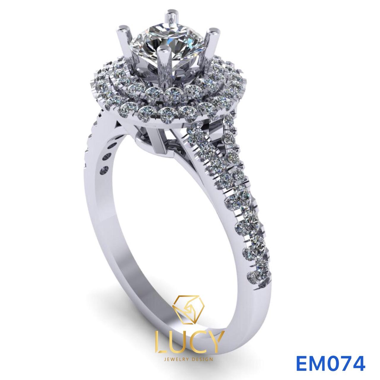 EM074 Nhẫn nữ vàng, nhẫn ổ kim cương 5mm, nhẫn nữ thiết kế, nhẫn cầu hôn, nhẫn đính hôn - Lucy Jewelry
