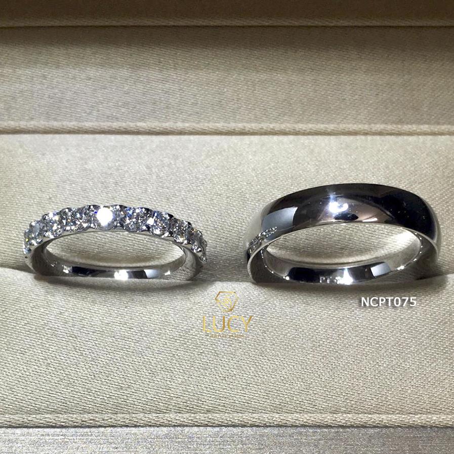 NCPT075 Nhẫn cưới bạch kim cao cấp Platinum 90% PT900 - Lucy Jewelry