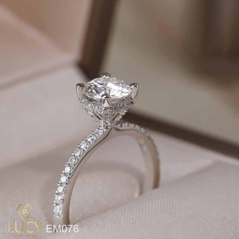 EM076 Nhẫn nữ vàng, nhẫn ổ kim cương 6.3mm, nhẫn nữ thiết kế, nhẫn cầu hôn, nhẫn đính hôn - Lucy Jewelry