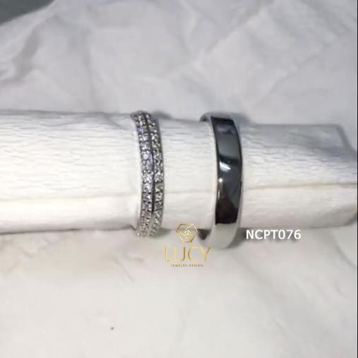 NCPT076 Nhẫn cưới bạch kim cao cấp Platinum 90% PT900 - Lucy Jewelry