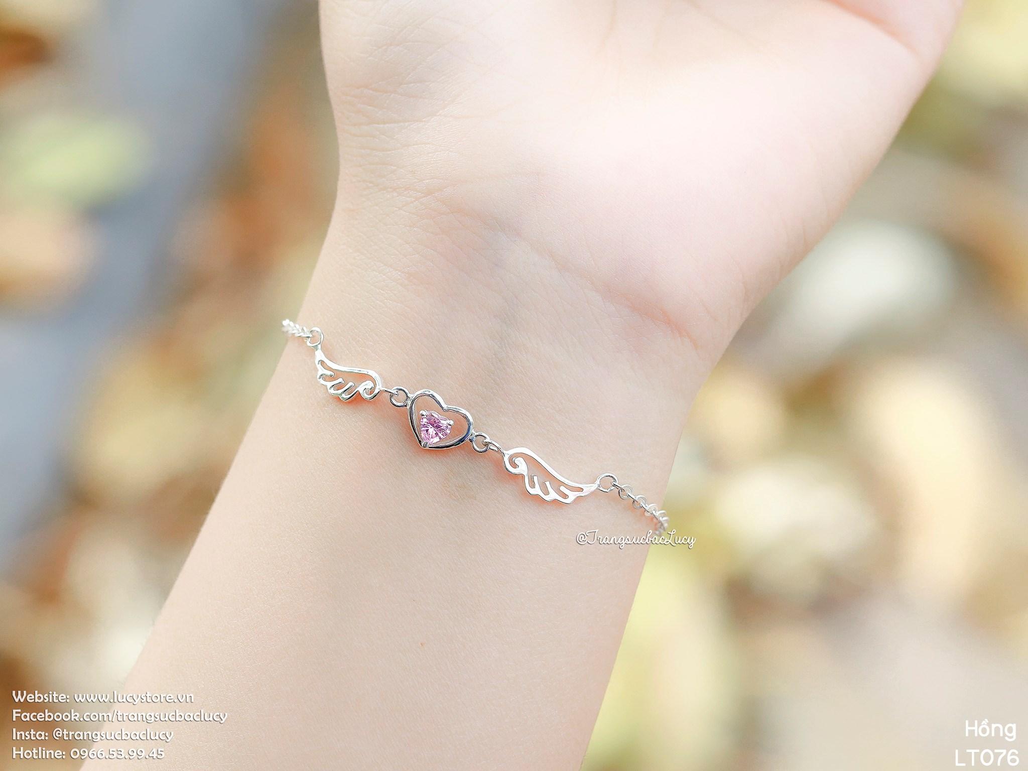 Lắc tay tim cánh thiên thần đá hồng  - LT076_HONG