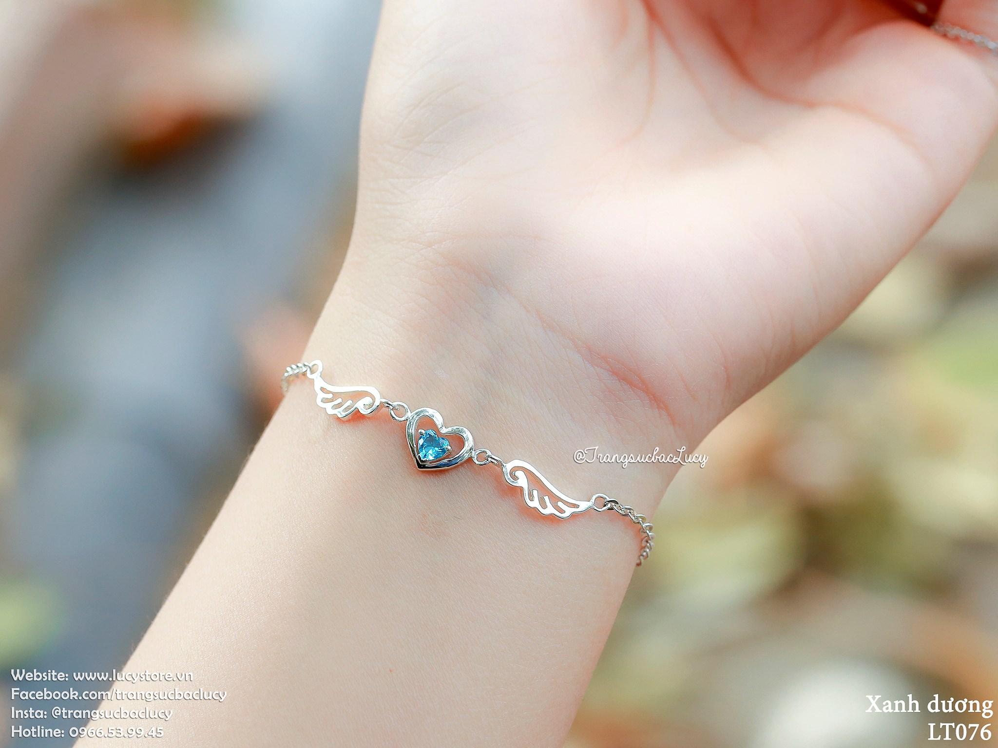 Lắc tay tim cánh thiên thần đá xanh dương  - LT076_XANHDUONG