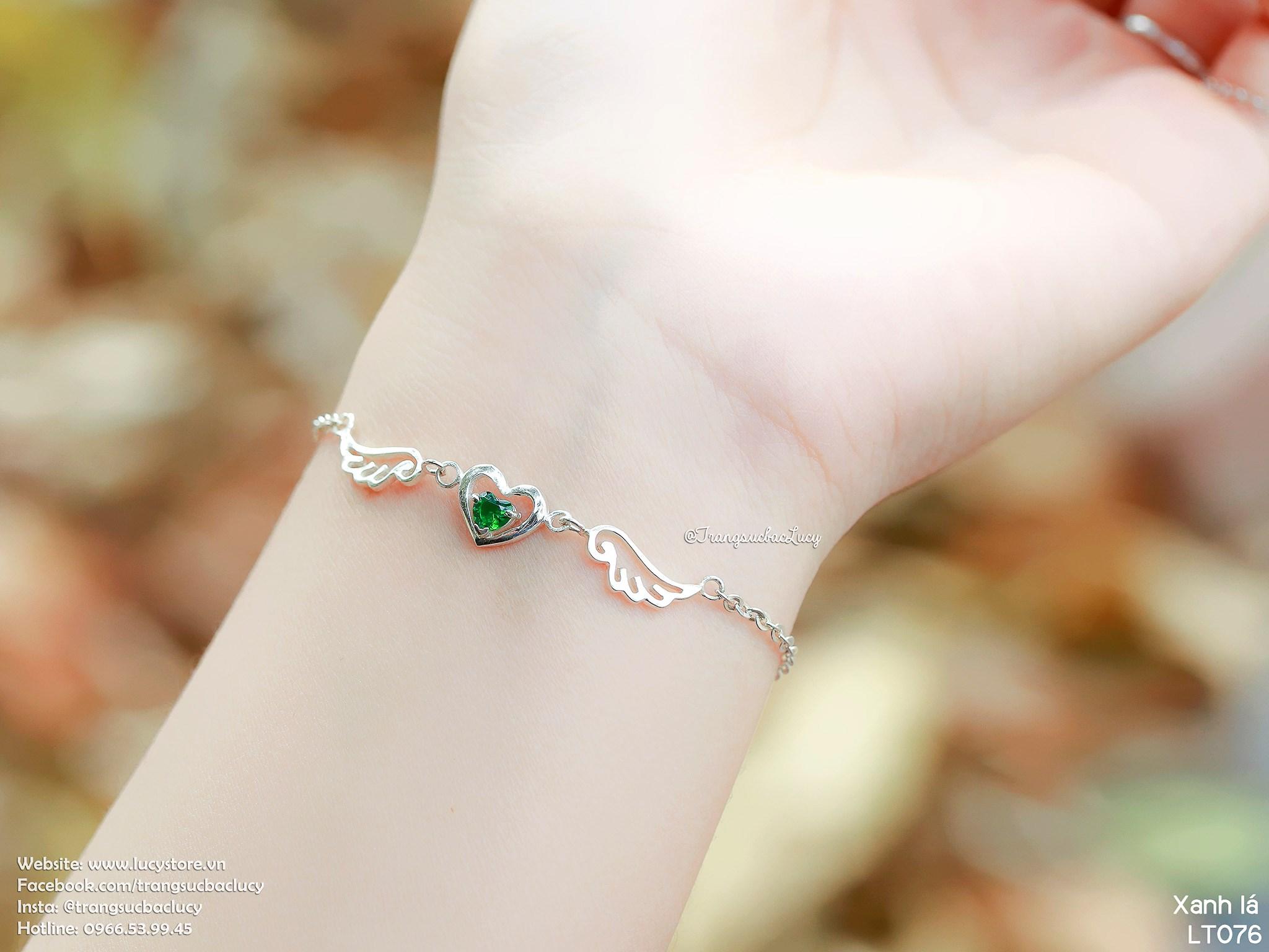 Lắc tay tim cánh thiên thần đá xanh lá - LT076_XANHLA