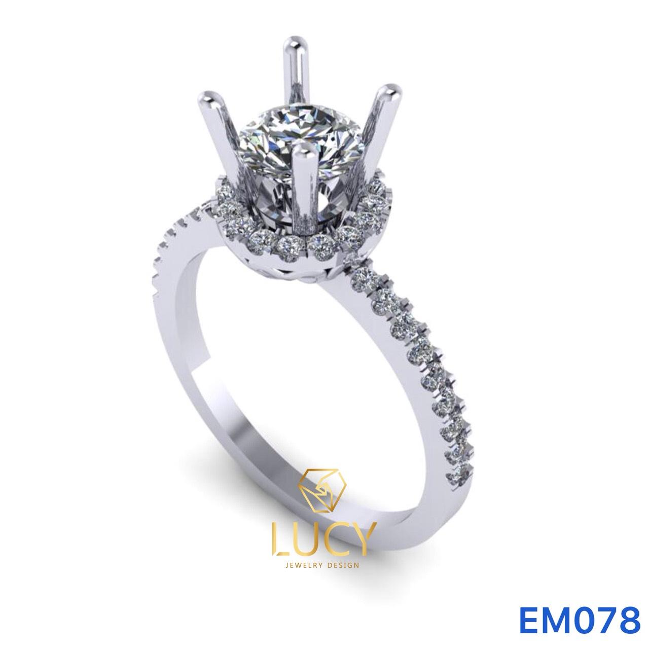 EM078 Nhẫn nữ vàng, nhẫn ổ kim cương 5.4mm 5.5mm, nhẫn nữ thiết kế, nhẫn cầu hôn, nhẫn đính hôn - Lucy Jewelry