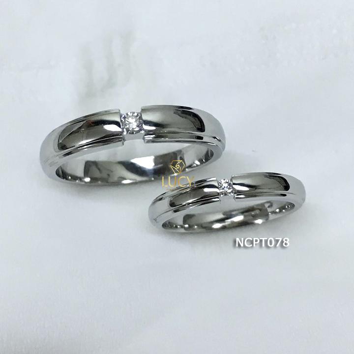 NCPT078 Nhẫn cưới bạch kim cao cấp Platinum 90% PT900 - Lucy Jewelry