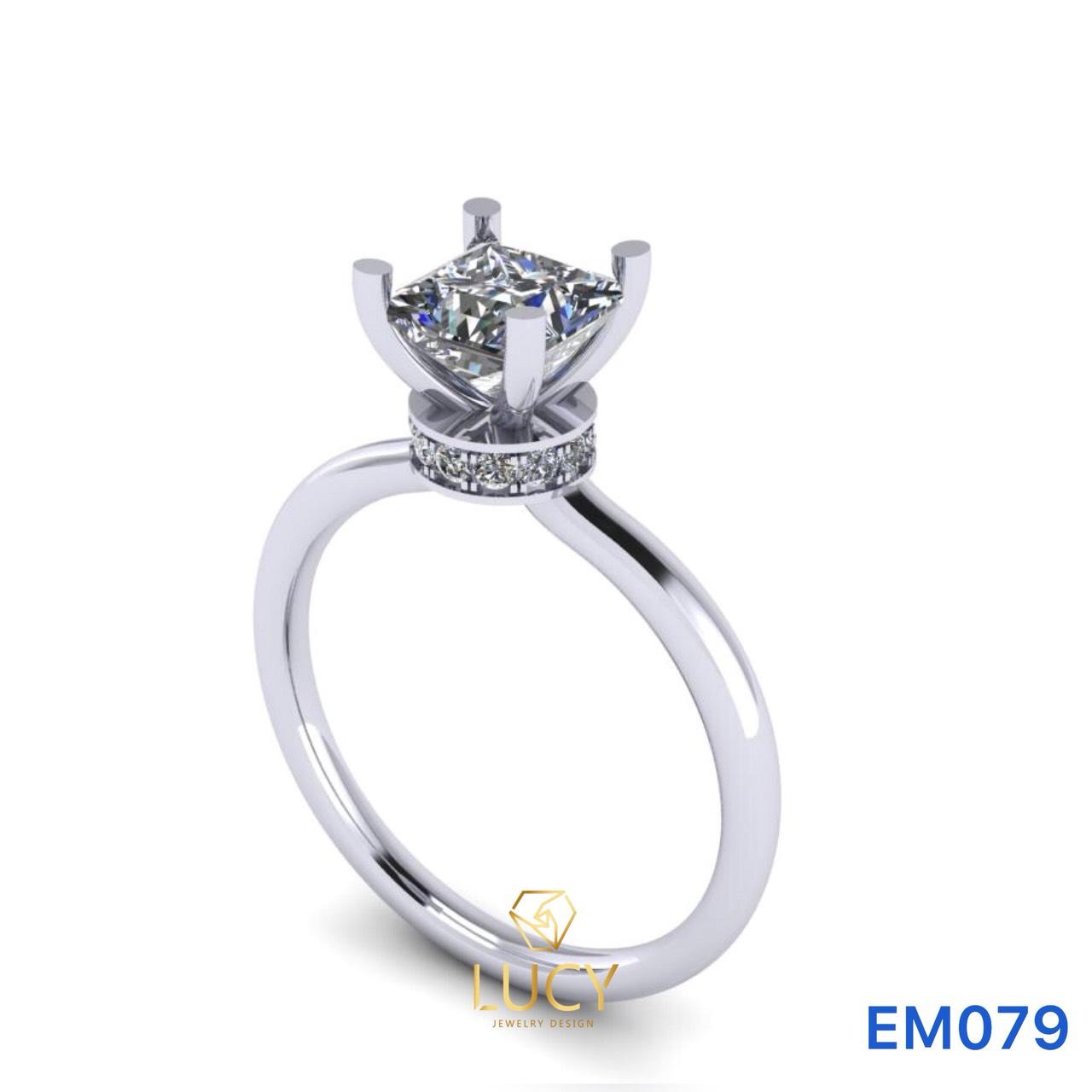 EM079 Nhẫn nữ vàng, nhẫn ổ kim cương vuông 5mm, nhẫn nữ thiết kế, nhẫn cầu hôn, nhẫn đính hôn - Lucy Jewelry