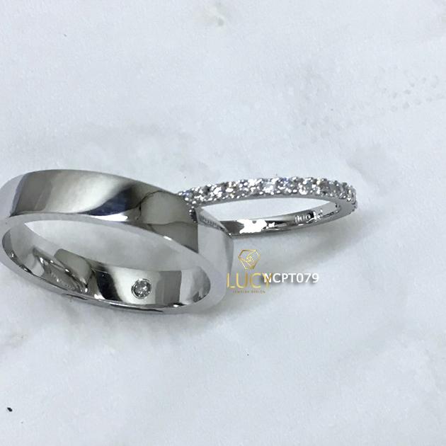 NCPT079 Nhẫn cưới bạch kim cao cấp Platinum 90% PT900 - Lucy Jewelry