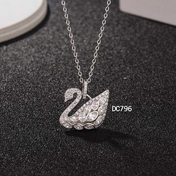 DC796 Dây chuyền Thiên nga đá, bạc Ý 925, xi vàng trắng