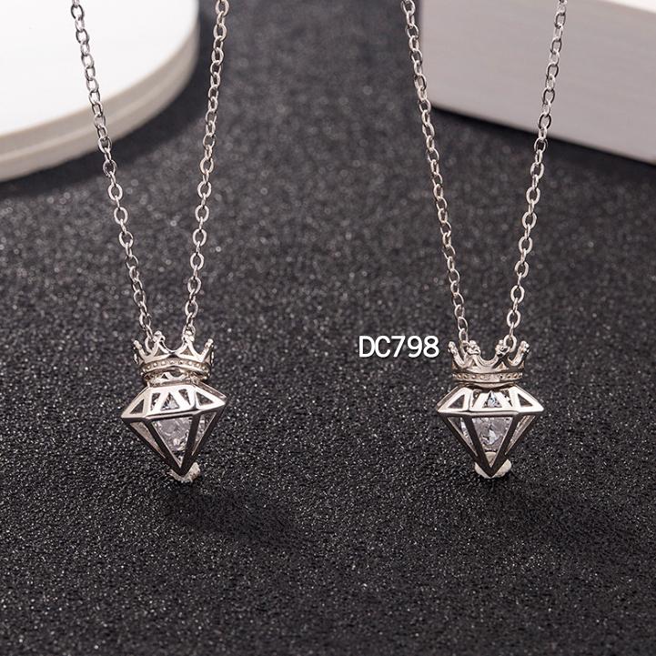 DC798 Dây chuyền hộp kim cương và vương miện, bạc Ý, xi vàng trắng