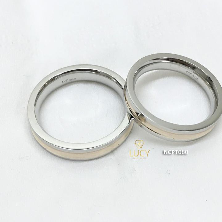 NCPT080 Nhẫn cưới bạch kim cao cấp Platinum 90% PT900 ghép vàng hồng 18k - Lucy Jewelry