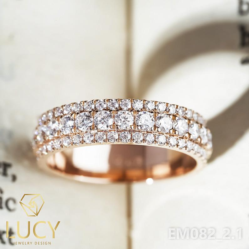 EM082-2.1 Nhẫn unisex nam và nữ full đá bản không xoay - Lucy Jewelry