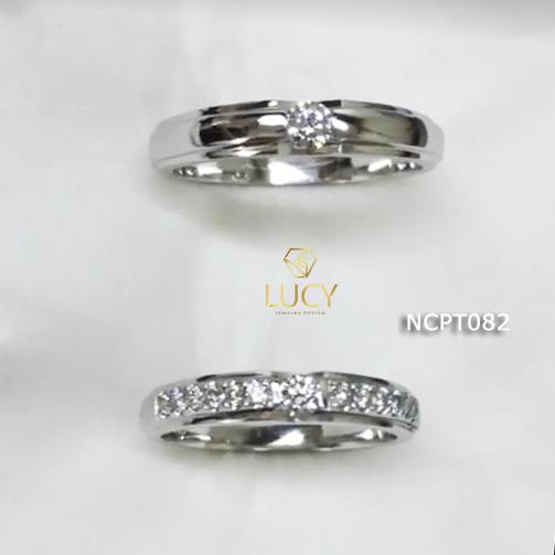 NCPT082 Nhẫn cưới bạch kim cao cấp Platinum 90% PT900 - Lucy Jewelry