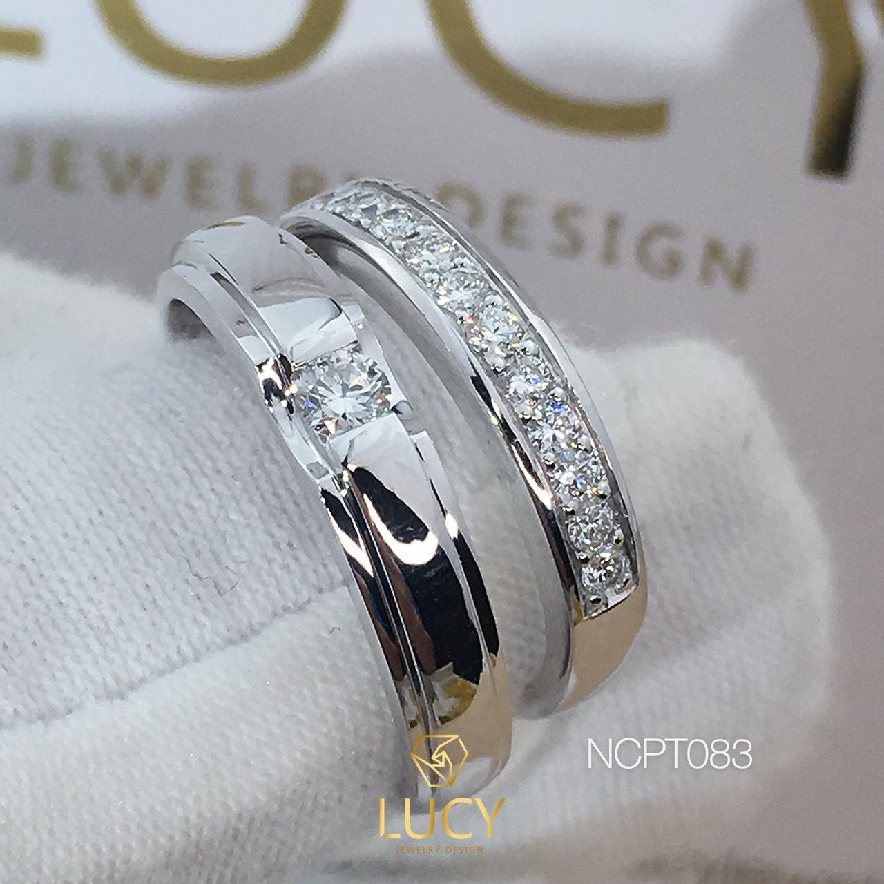 NCPT083 Nhẫn cưới bạch kim cao cấp Platinum 90% PT900 đính kim cương tự nhiên - Lucy Jewelry