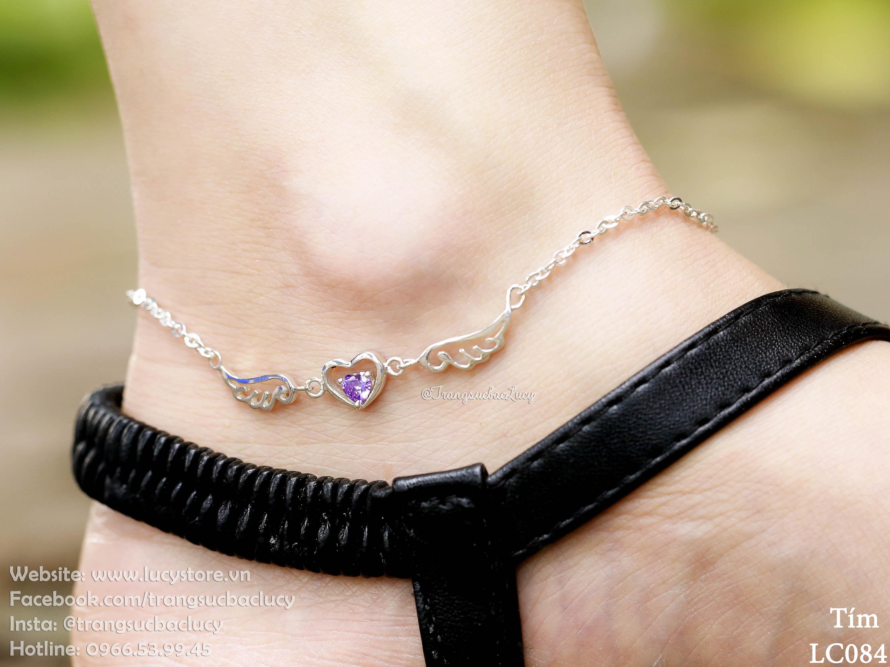 Lắc chân tim cánh thiên thần đá tím  - LC084_TIM