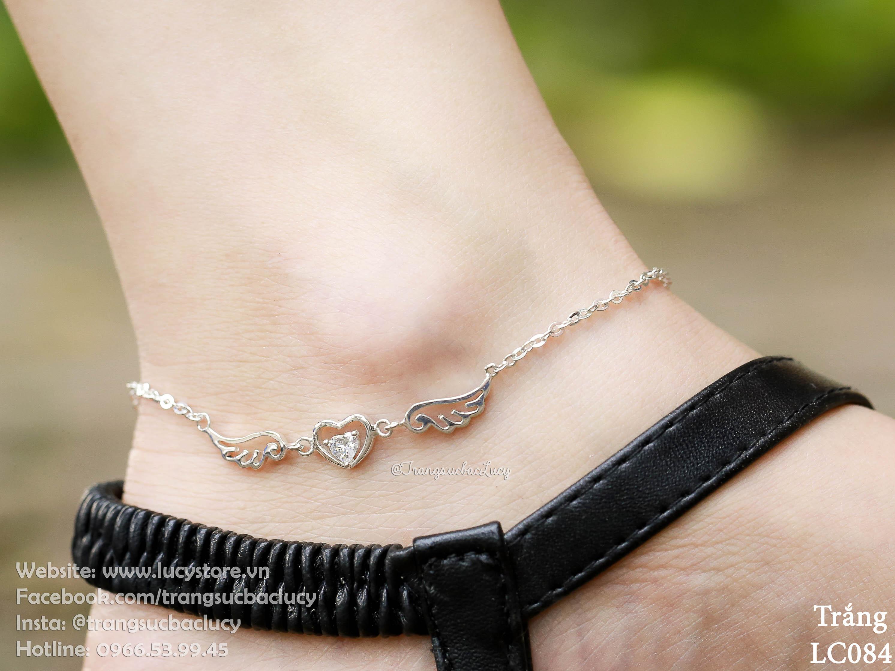 Lắc chân tim cánh thiên thần đá trắng - LC084_TRANG