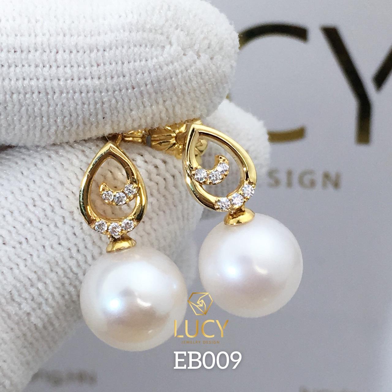 EB009 Khuyên tai vàng nữ gắn ngọc trai 10mm - Lucy Jewelry