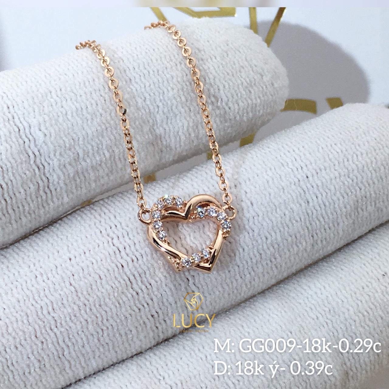 GG009 Mặt dây chuyền thiết kế trái tim vàng 10k 14k 18k - Lucy Jewely