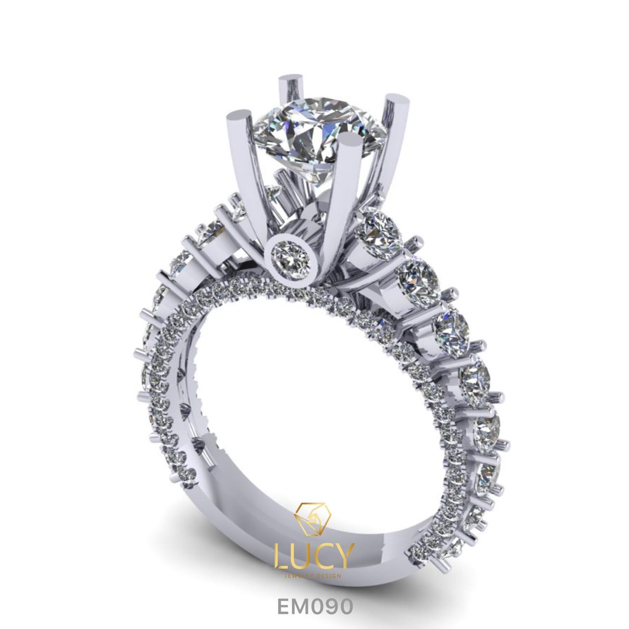 EM090 Nhẫn cầu hôn, nhẫn đính hôn, nhẫn kim cương 6.3mm 6.5mm, nhẫn nữ thiết kế đẹp - Lucy Jewelry