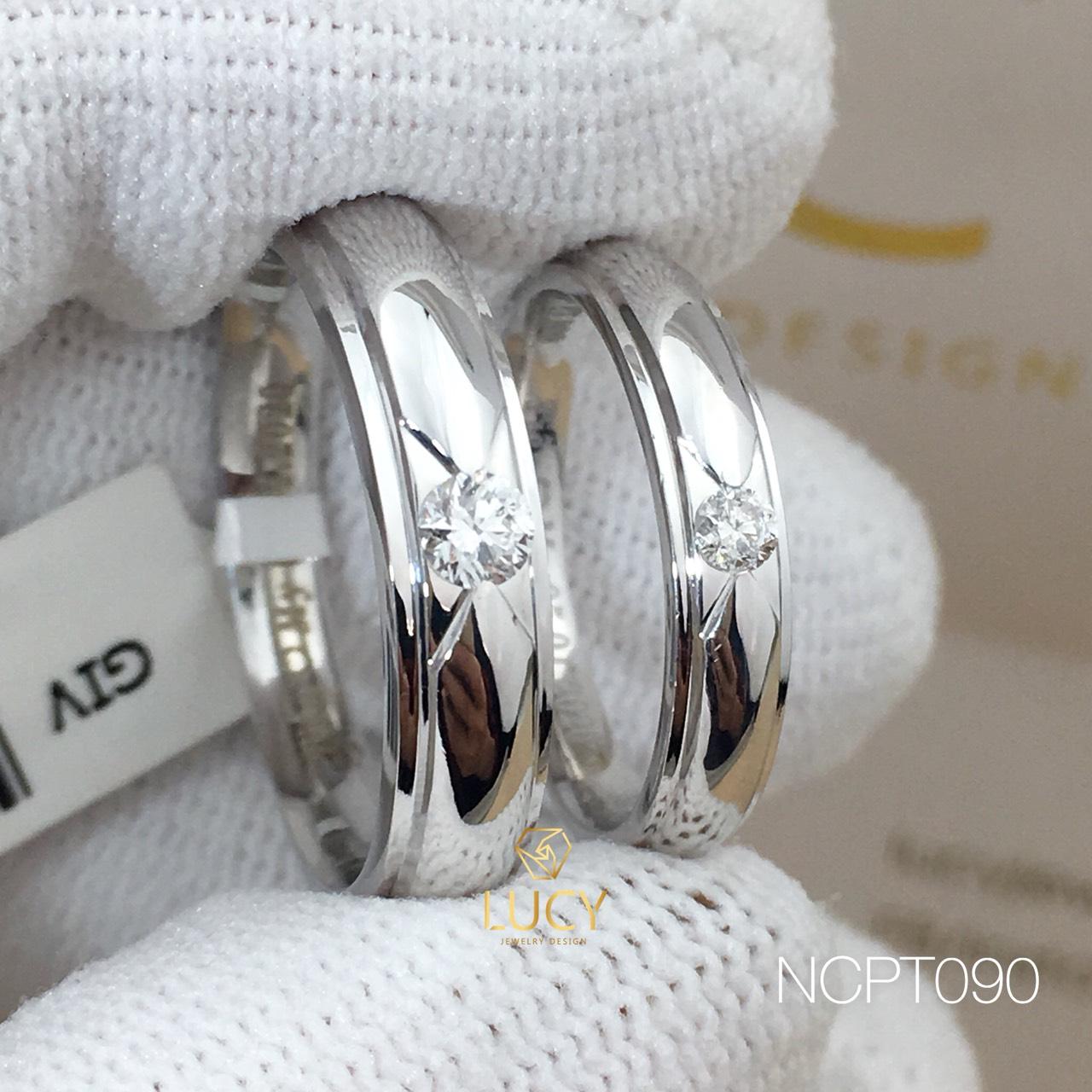 NCPT090 Nhẫn cưới bạch kim cao cấp Platinum 90% PT900 đính kim cương tự nhiên - Lucy Jewelry