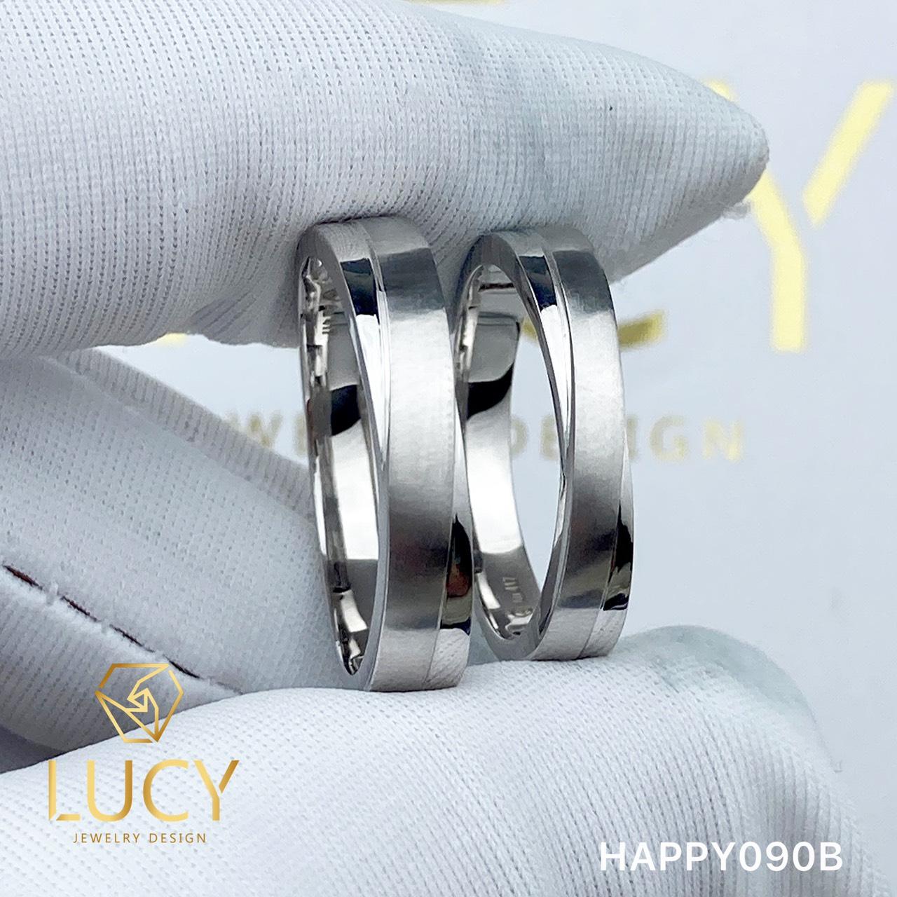 HAPPY090B Nhẫn cưới đẹp vàng tây, vàng trắng, vàng hồng 10k 14k 18k, Bạch Kim Platinum PT900 đính CZ, Moissanite, Kim cương - Lucy Jewelry