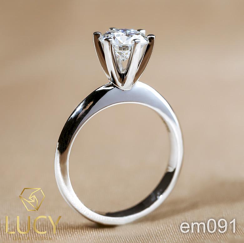 EM091 Nhẫn cầu hôn, nhẫn đính hôn, nhẫn kim cương 6.3mm 6.5mm, nhẫn nữ thiết kế đẹp - Lucy Jewelry