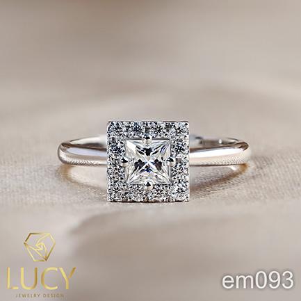 EM093 Nhẫn cầu hôn, nhẫn đính hôn, nhẫn kim cương vuông Princess 4x4mm, nhẫn nữ thiết kế đẹp - Lucy Jewelry