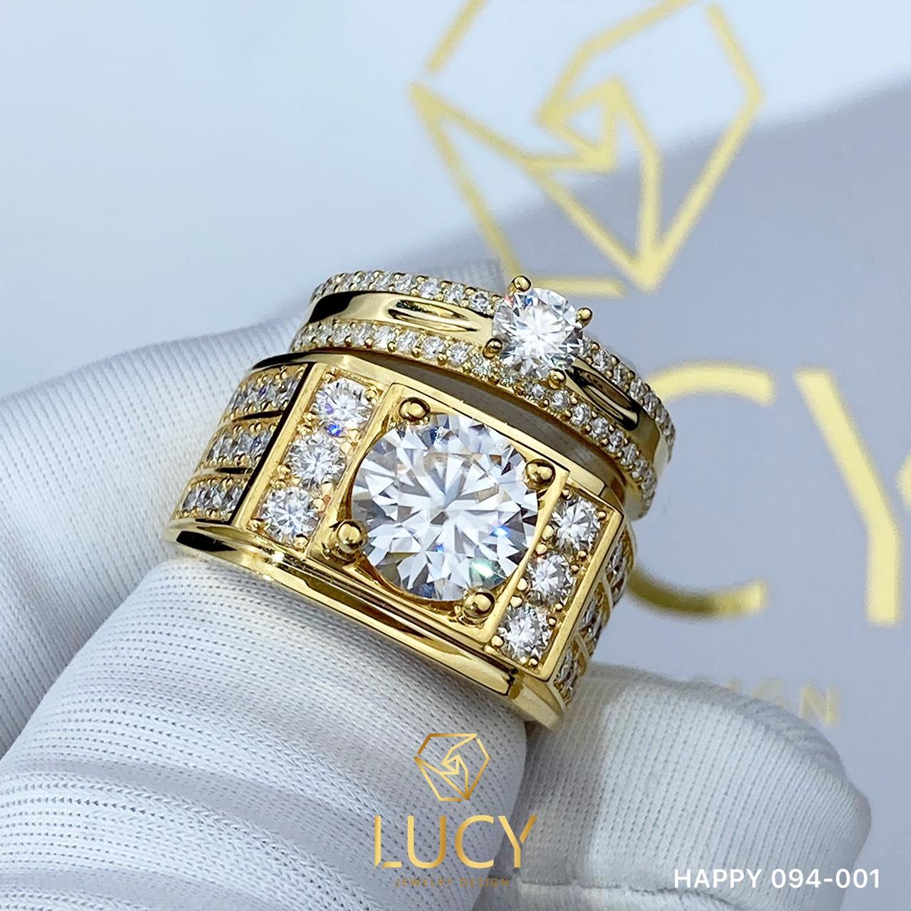 HAPPY 094-001 Nhẫn đôi, nhẫn cưới thiết kế, nhẫn cưới cao cấp, nhẫn cưới  kim cương 8mm 4mm - Lucy Jewelry