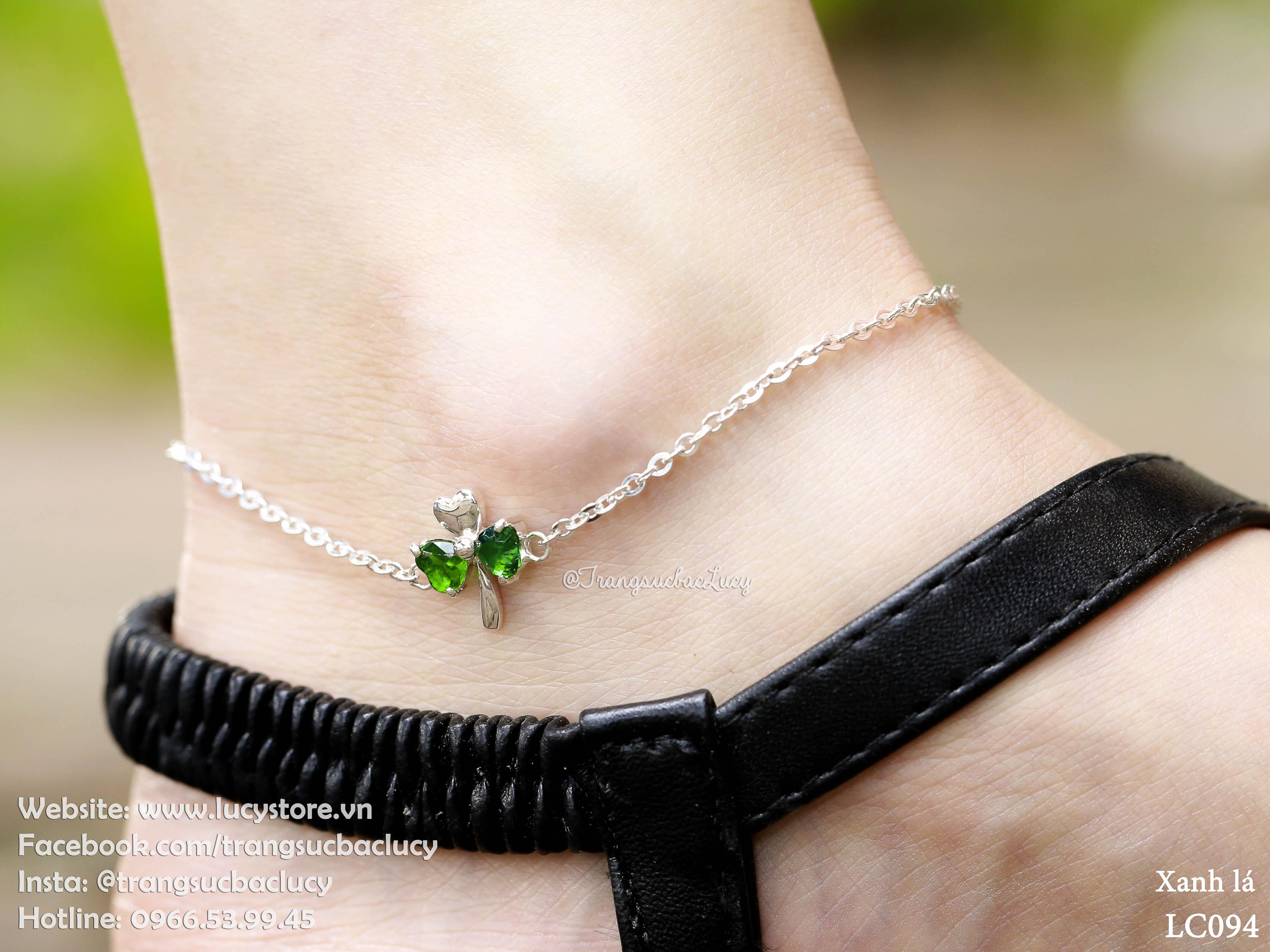 Lắc chân cỏ 3 lá đá xanh lá cây - LC094_XANHLA (hàng order)
