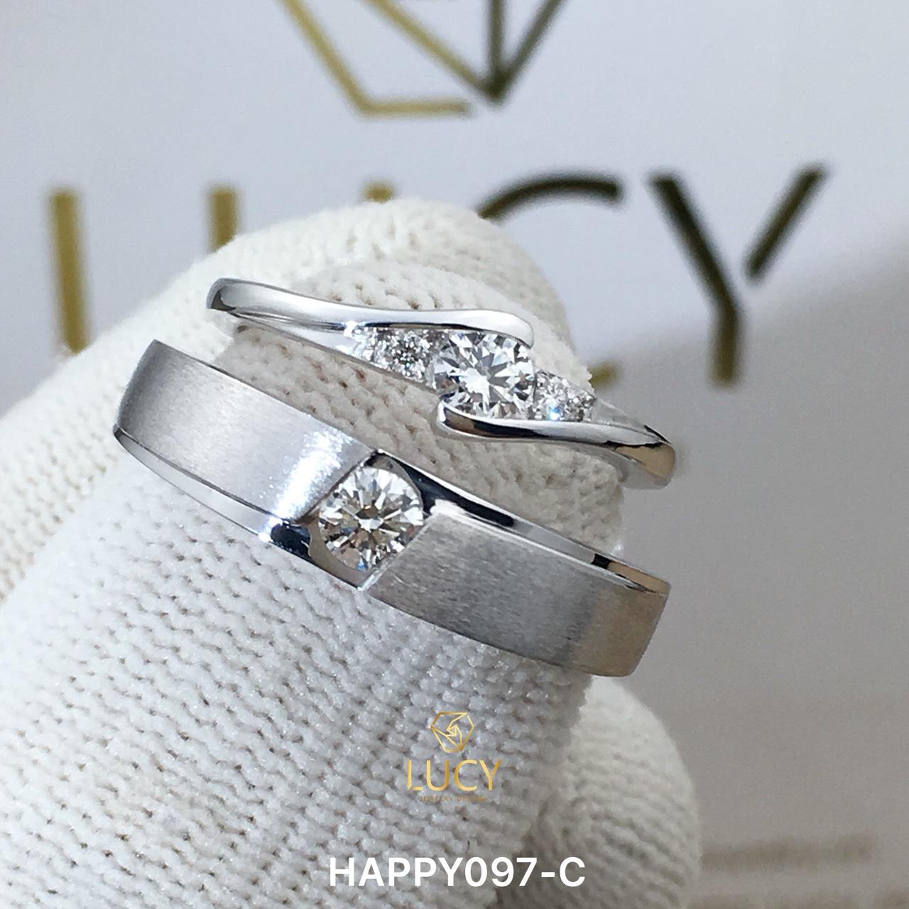 HAPPY097-C_PT Nhẫn cưới bạch kim cao cấp Platinum 90% PT900 đính kim cương tự nhiên - Lucy Jewelry